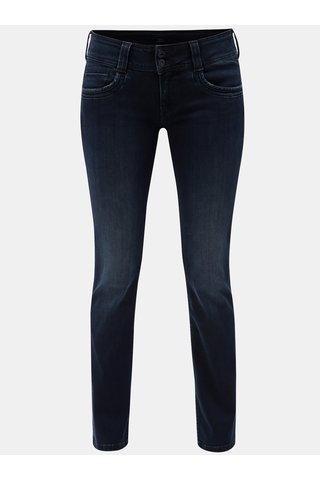 Blugi de dama albastru inchis straight din denim Pepe Jeans