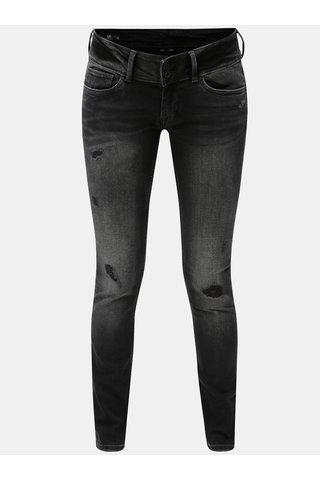 Blugi de dama negri slim din denim cu aspect uzat Pepe Jeans