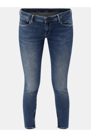 Blugi de dama albastri skinny crop din denim cu fermoari pe picioare Pepe Jeans