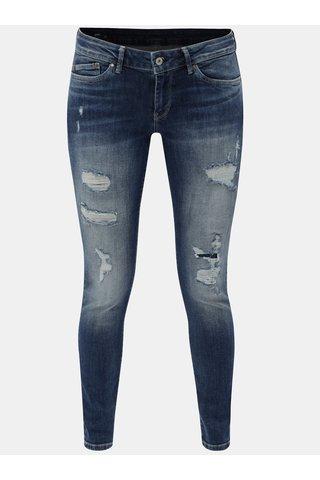Blugi de dama albastri skinny din denim cu aspect uzat Pepe Jeans