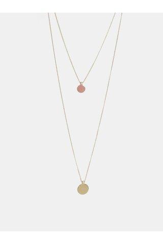 Colier auriu cu pandantiv roz Pieces Trine
