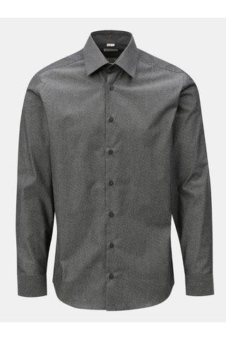 Tmavě šedá pánská formální košile s drobným vzorem VAVI