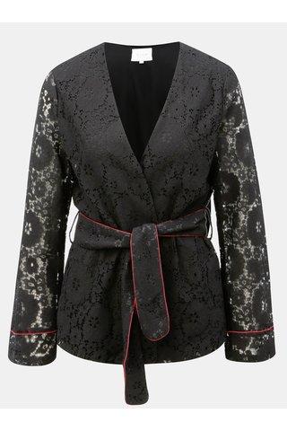 Černé krajkované sako s páskem VILA Luas