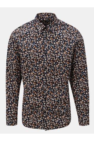 Camasa slim fit albastru inchis cu model Selected Homme