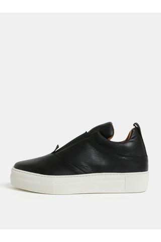 Pantofi slip-on negri din piele naturala cu platforma Selected Femme