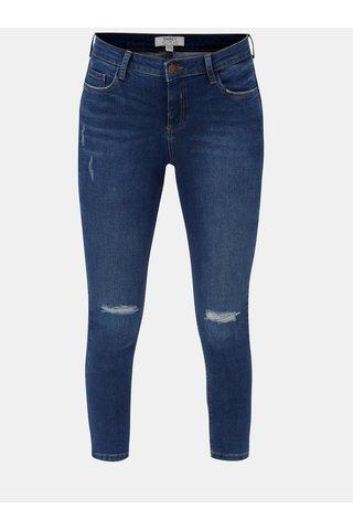 Blugi albastri inchis skinny crop din denim cu aspect uzat Dorothy Perkins
