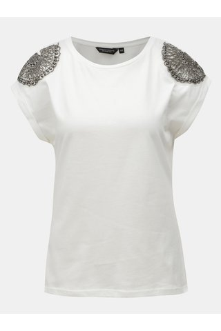 Tricou alb cu aplicatie din margele Dorothy Perkins