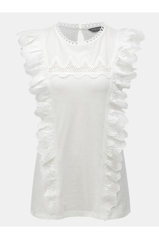 Tricou alb din dantela cu volane Dorothy Perkins Tall