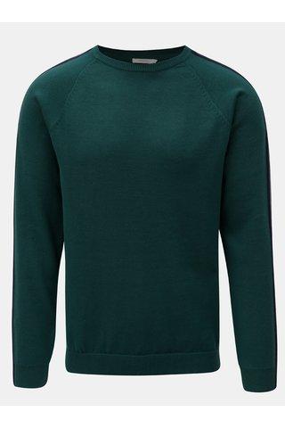 Tmavě zelený svetr s pruhy na rukávech Jack & Jones Kreon