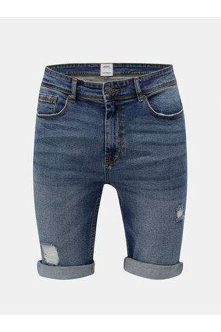 Pantaloni scurti albastri din denim cu aspect uzat Burton Menswear London