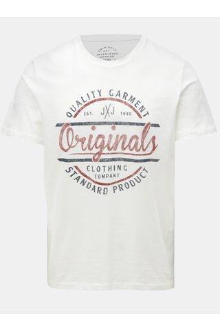 Bílé tričko s potiskem Jack & Jones Vinnie