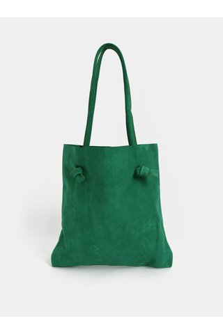 Geanta shopper verde din piele slefuita WOOX