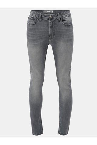 Blugi gri skinny din denim cu aspect prespalat Burton Menswear London