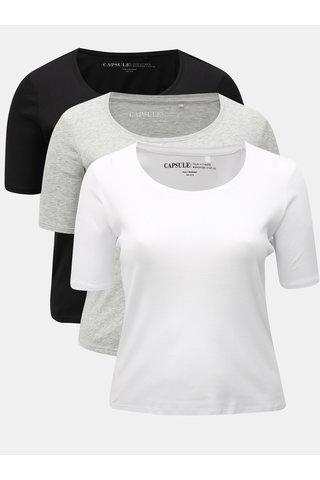 Set de 3 tricouri negru si alb simply be.