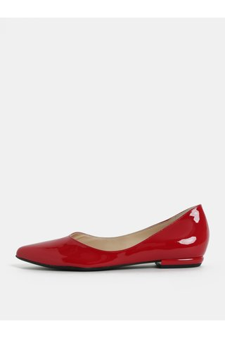 Červené kožené lesklé baleríny Högl