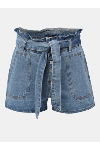 Pantaloni scurti albastri din denim cu talie inalta si cordon MISSGUIDED