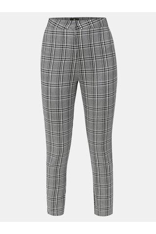 Pantaloni crop gri in carouri cu talie inalta MISSGUIDED