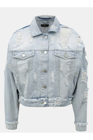 Jacheta oversize albastru deschis din denim cu broderie si aspect uzat  MISSGUIDED
