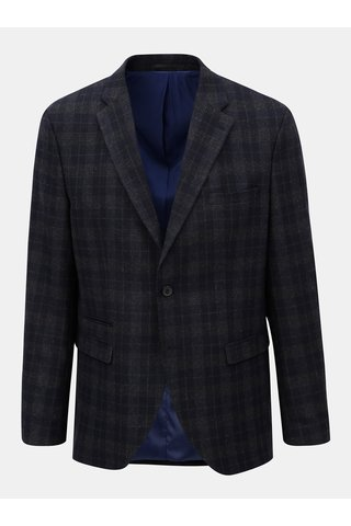 Sacou formal albastru inchis din lana in carouri Selected Homme