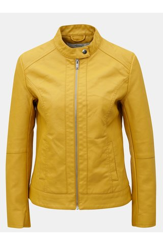 Jacheta galbena din piele sintetica Jacqueline de Yong Dallas