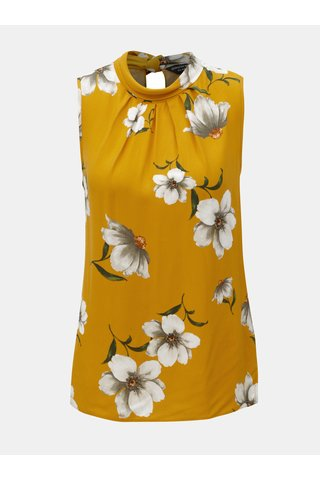Top mustar fara maneci cu model floral Dorothy Perkins
