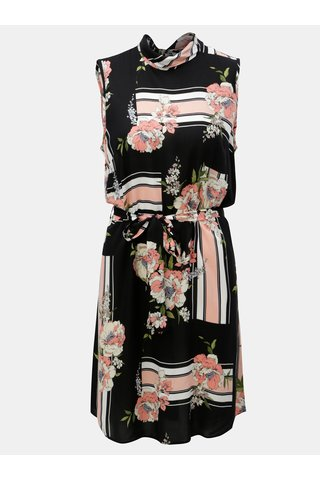 Rochie roz-negru fara maneci cu model floral Dorothy Perkins