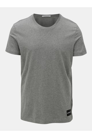 Šedé pánské žíhané tričko s potiskem Calvin Klein Jeans