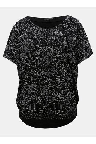 Tricou negru oversize cu print Mayda Pohádka