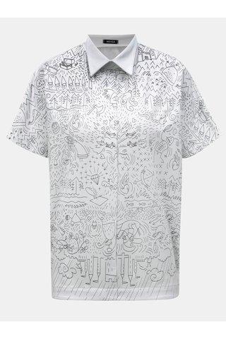 Tricou alb oversize cu guler si print Mayda Pohádka