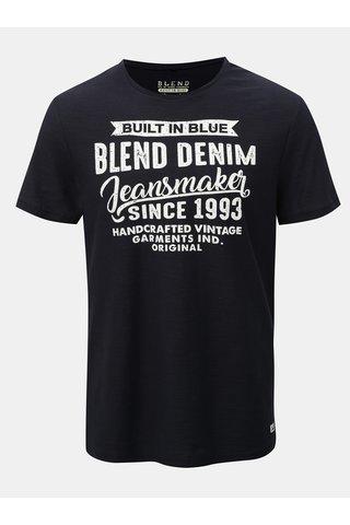 Tricou regular albastru inchis melanj Blend