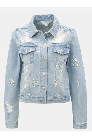 Jacheta albastru deschis din denim cu aplicatie din margele Miss Selfridge