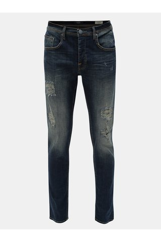 Blugi albastri slim fit din denim cu aspect uzat Blend
