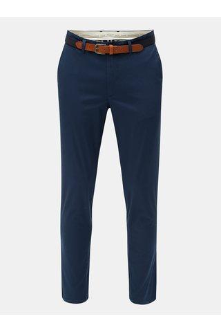 Pantaloni chino albastri slim fit cu cordon Selected Homme