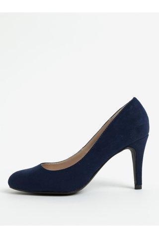 Pantofi albastru inchis cu aspect de piele intoarsa si toc inalt Dorothy Perkins