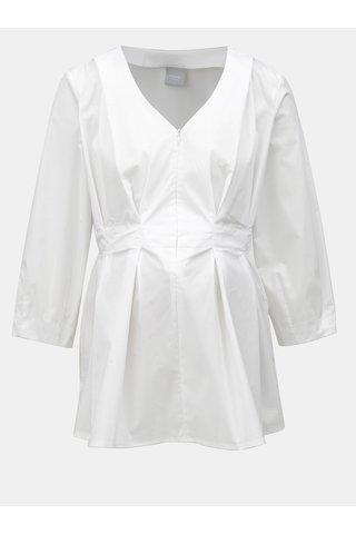 Bluza alba pentru femei insarcinate si pentru alaptat cu fermoar in decolteu Mama.licious