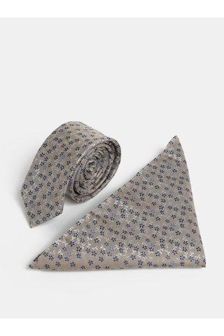 Cravata slim bej cu model si batista pentru costum Burton Menswear London