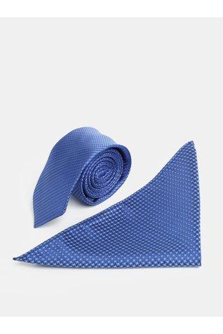 Set cravata albastra slim si batista pentru costum Burton Menswear London