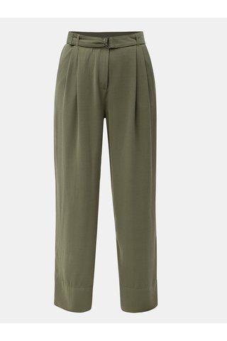 Pantaloni largi verzi cu talie inalta si cordon Jacqueline de Yong Enzo