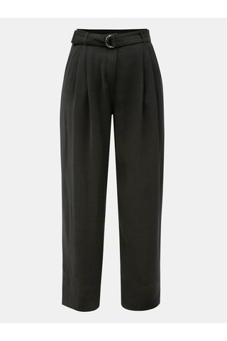 Pantaloni largi negri cu talie inalta si cordon Jacqueline de Yong Enzo