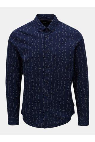 Camasa albastru inchis slim cu model ONLY & SONS Omar