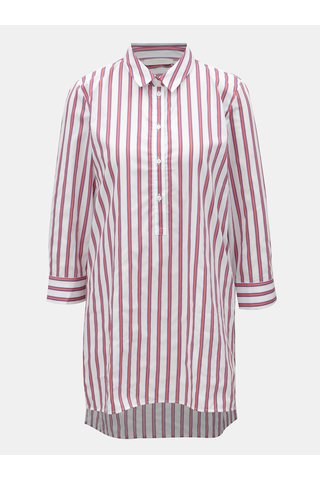 Camasa rosu-alb in dungi cu slituri Rich & Royal