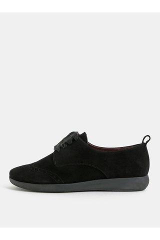 Pantofi negri din piele intoarsa cu efect brogue OJJU