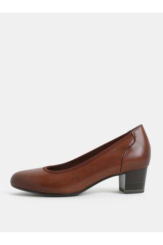 Pantofi maro din piele cu toc mic Tamaris