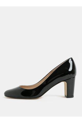 Pantofi negri luciosi din piele cu toc stabil OJJU