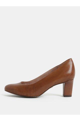 Pantofi maro din piele cu toc Tamaris
