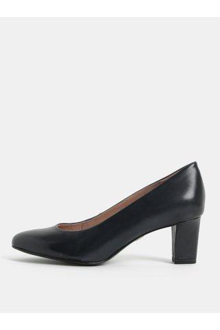 Pantofi albastru inchis din piele cu toc Tamaris