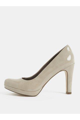 Pantofi bej cu aspect lucios si toc inalt Tamaris