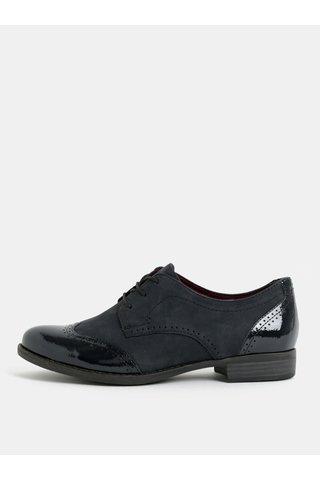 Pantofi albastru inchis din piele intoarsa cu model 3D Tamaris