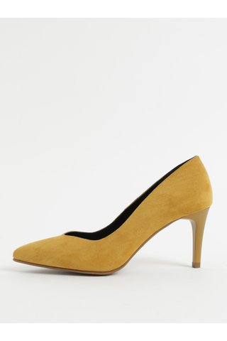 Pantofi mustar din piele intoarsa cu toc cui OJJU