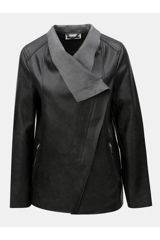 Jacheta biker neagra din piele sintetica Noisy May Cubs